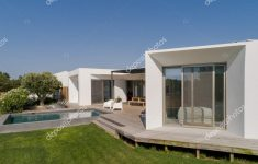 Modern House With View Beautiful Aerial View Modern House Garden Swimming Pool Wooden Deck