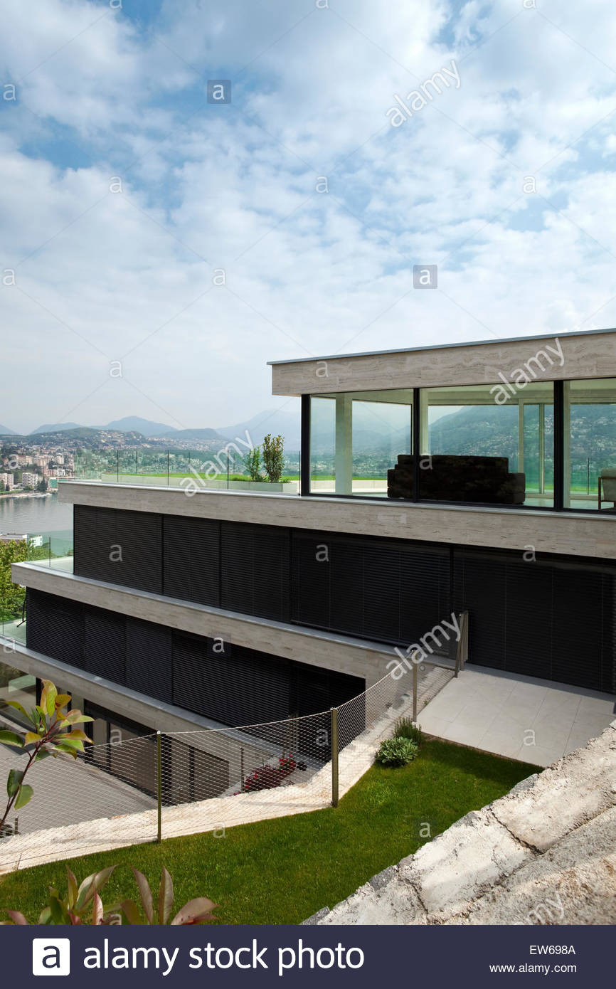 Modern House with View Lovely Beautiful Modern House View From Garden Stock