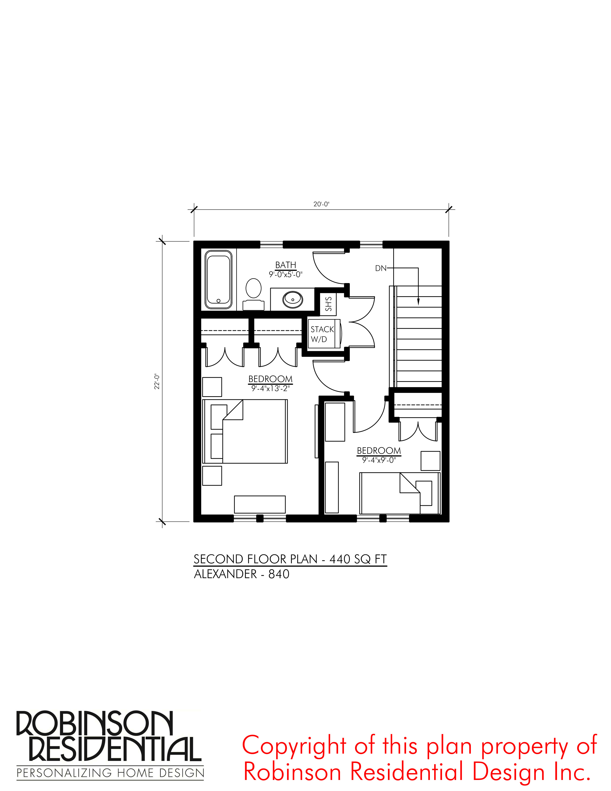 SMALL HOUSE PLANS ALEXANDER 840 02 SECOND FLOOR PLAN
