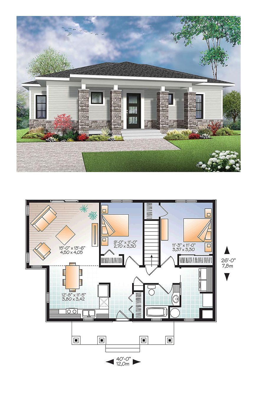 One Floor Modern House Plans Best Of Contemporary Modern House Plan with 2 Beds 1 Baths