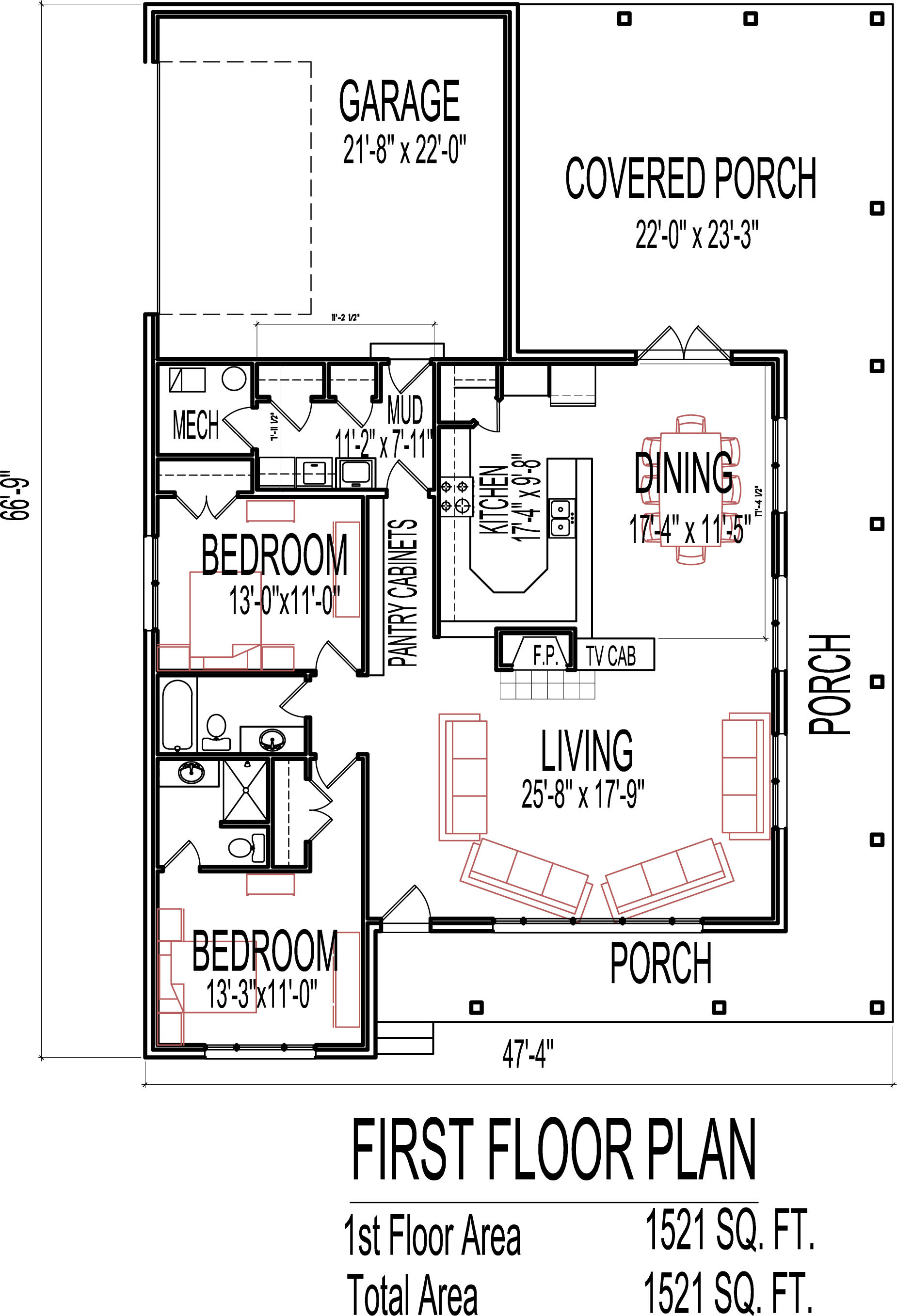 house plans stone cottage 2 bedroom 1 story 1500 SF porch
