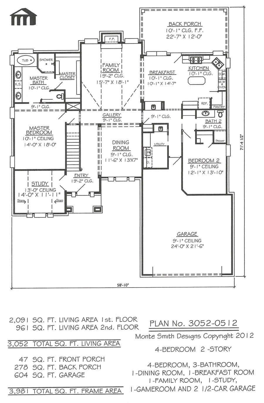 3042 0510 4 Room 2 Story Home house Plans