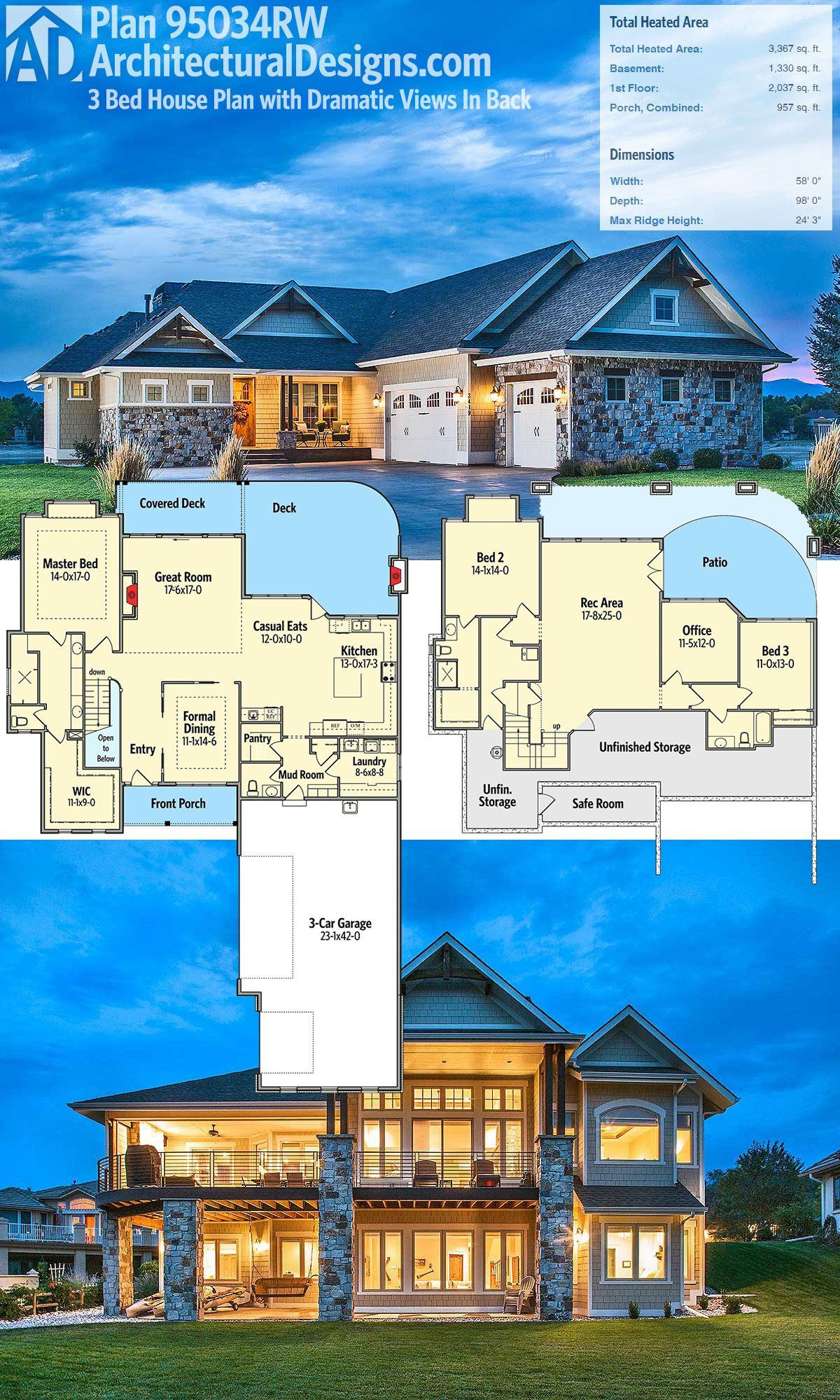 Patio Home House Plans Best Of Plan Rw Craftsman House Plan with Dramatic Views In