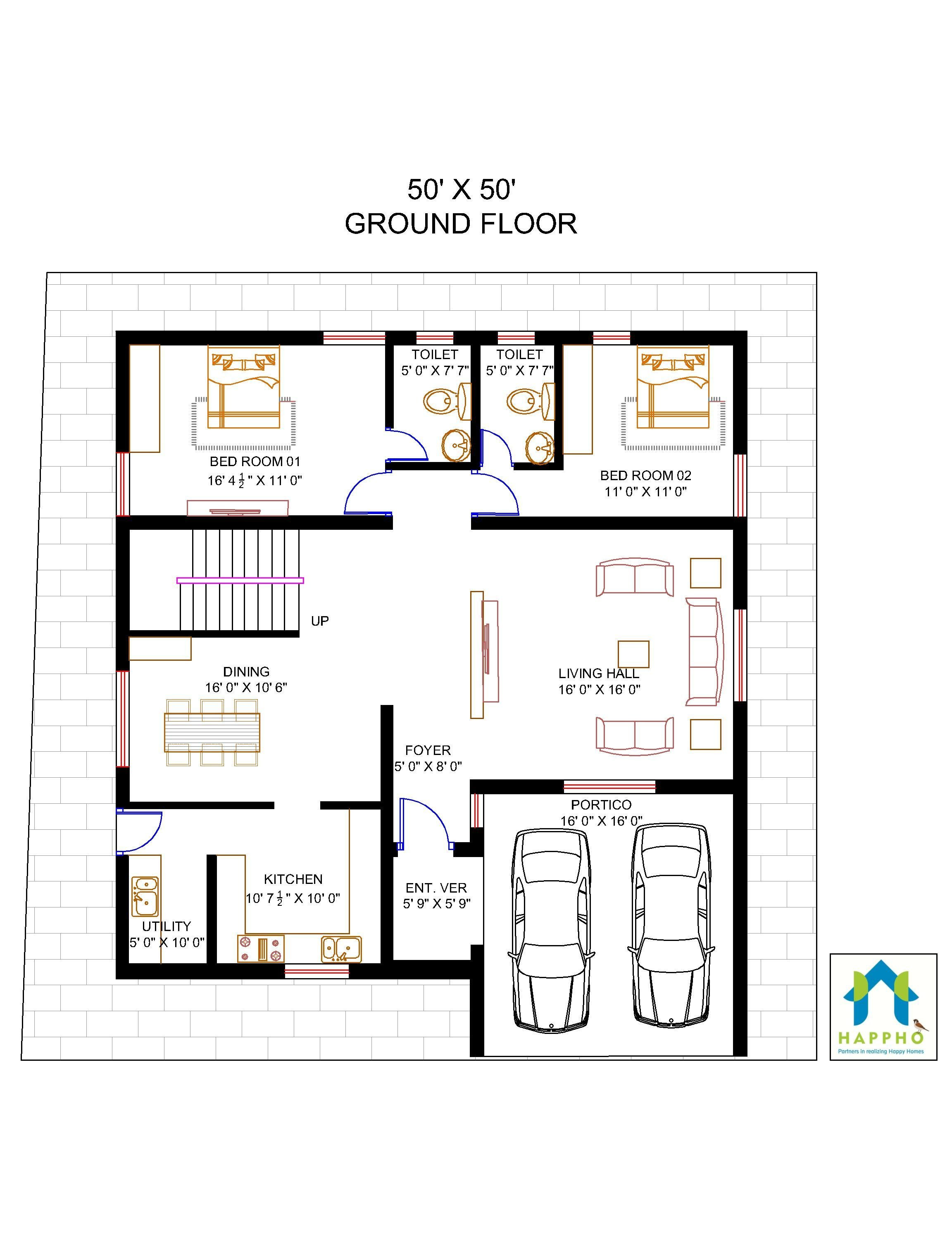 4 bhk floor plan 50 x 50 feet plot 2500 square feet 278 square yards