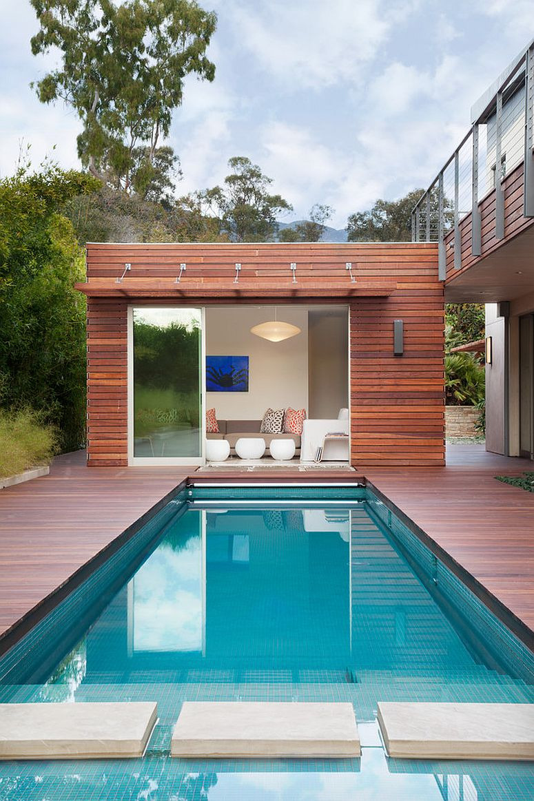 Small and stylish contemporary pool house packs quite a punch