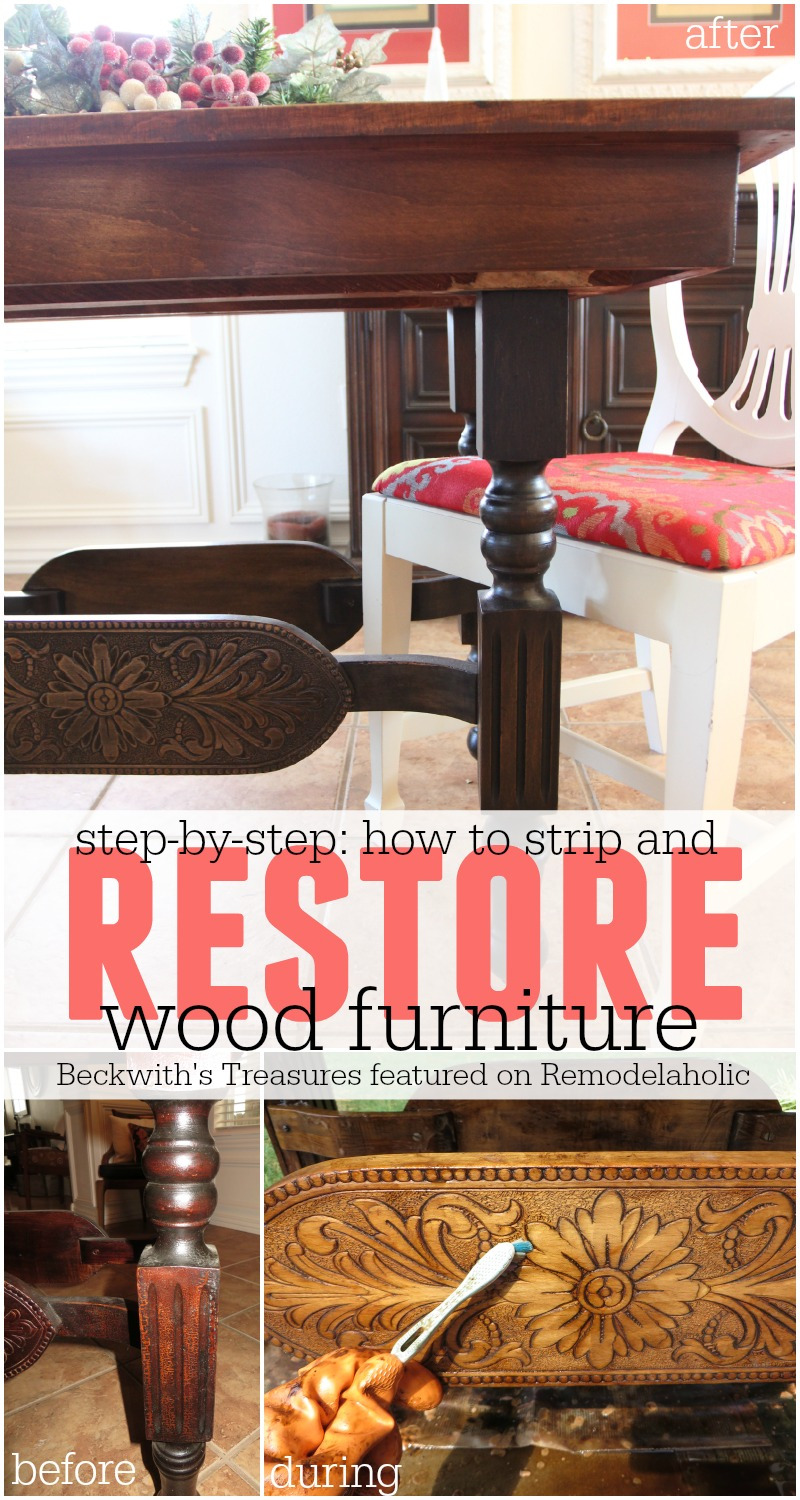 How to Strip and Restore Wood Furniture Beckwiths Treasures featured on Remodelaholic