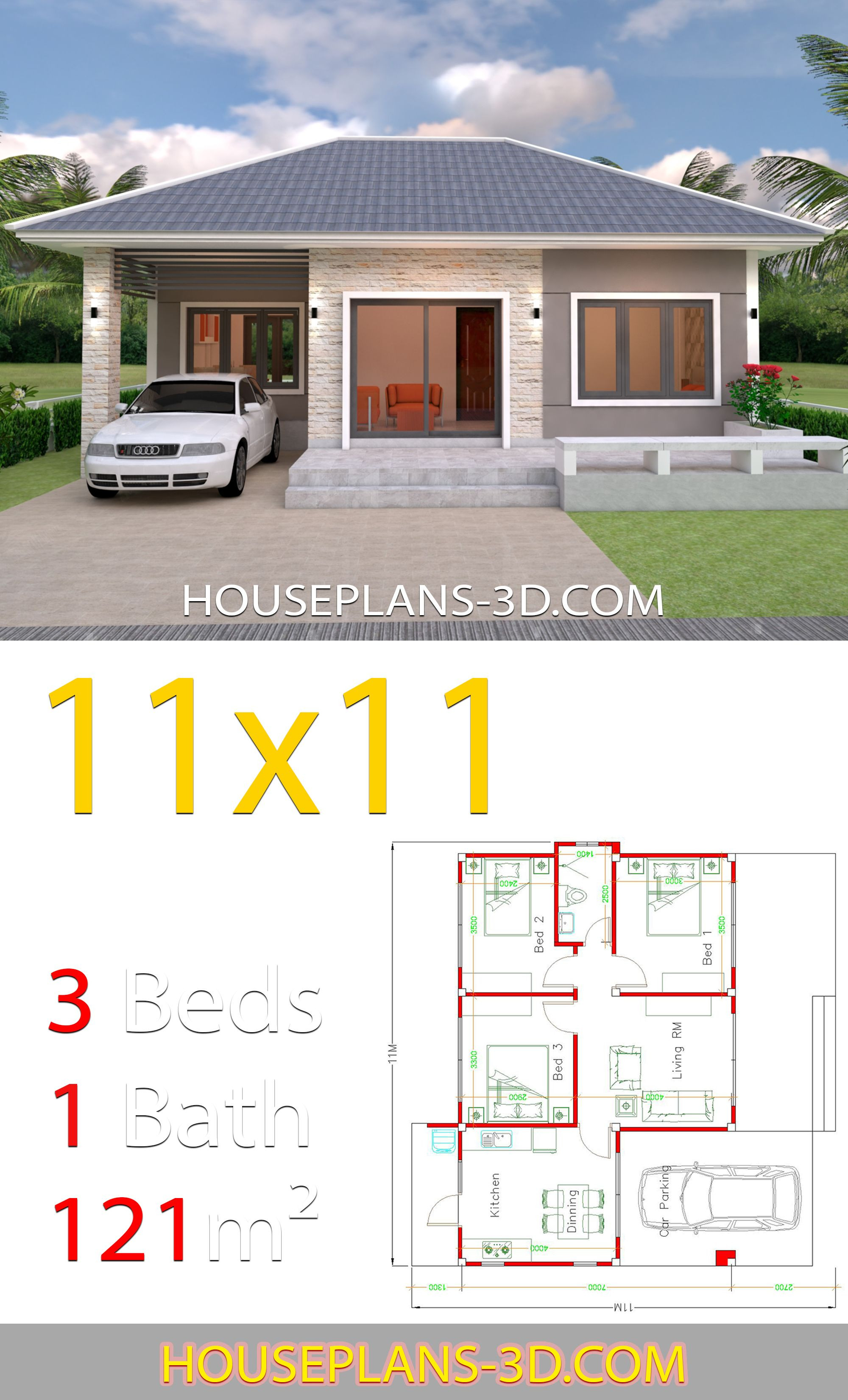 Roof Plans for House Inspirational House Design 11x11 with 3 Bedrooms Hip Roof