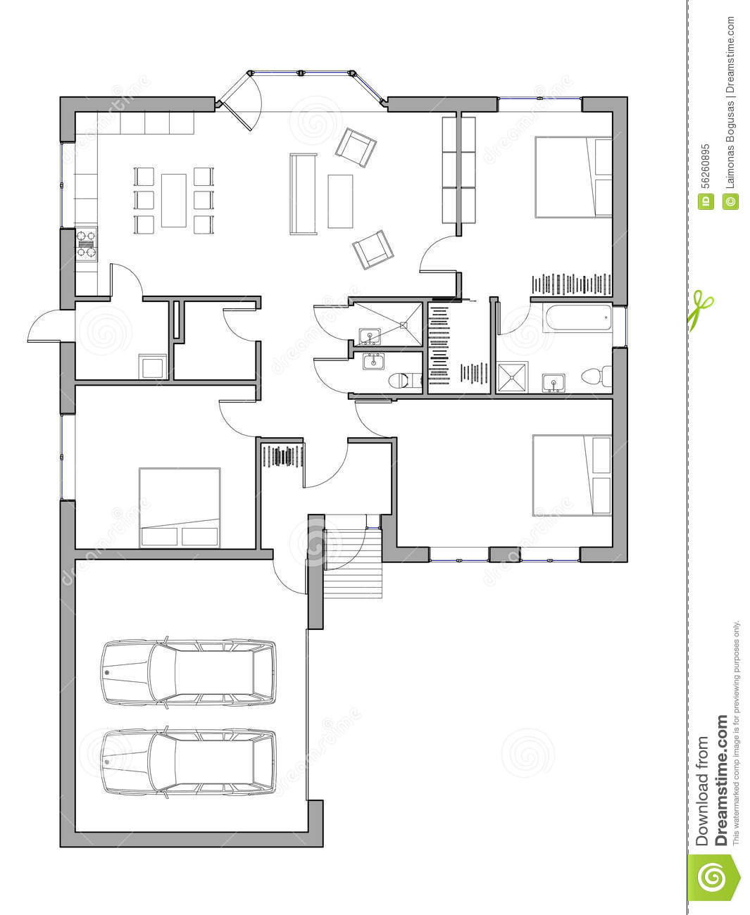 project single family house drawing floor plan