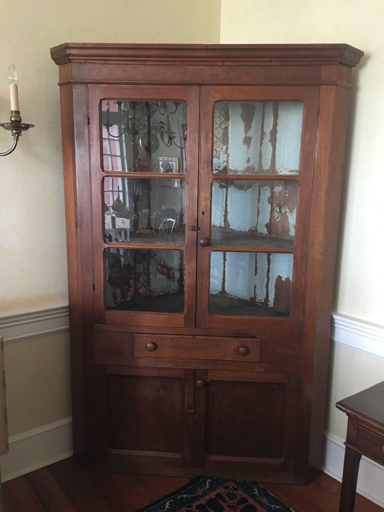 Small Cabinet with Glass Doors Elegant American Walnut Corner Cupboard or Cabinet with Glass Doors 19th Century