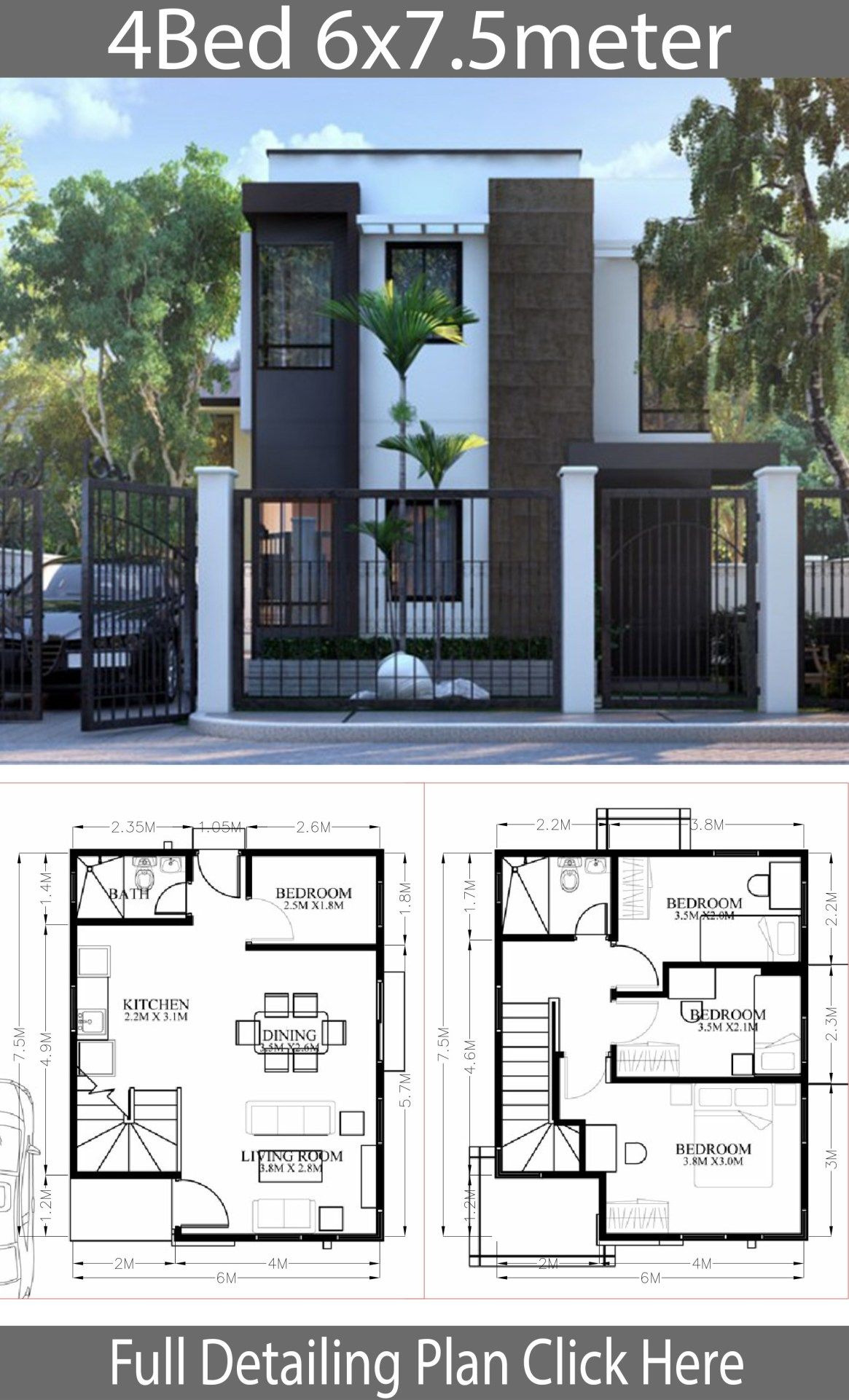 Small House Designs and Floor Plans Beautiful Small Home Design Plan 6x7 5m with 4 Bedrooms