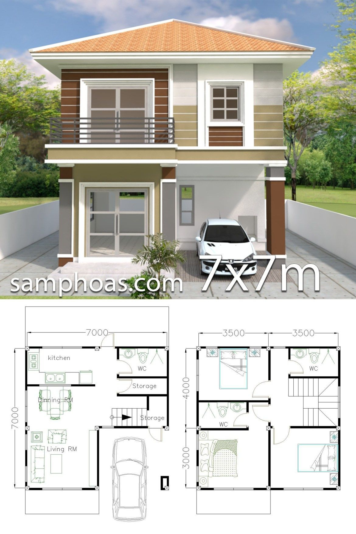 Small House Designs and Floor Plans New Home Design Plan 7x7m with 3 Bedrooms