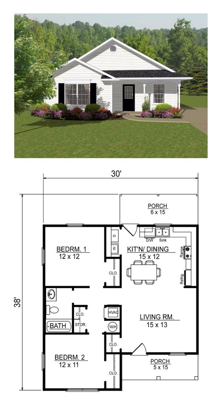 Small House Floor Plans with Porches Elegant Open Concept Two Bedroom Small House Plan [other Examples
