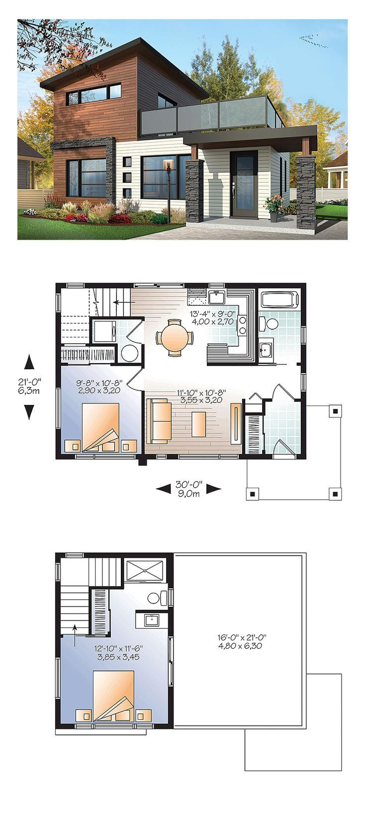 Small Modern Floor Plans Luxury Modern Style House Plan with 2 Bed 2 Bath