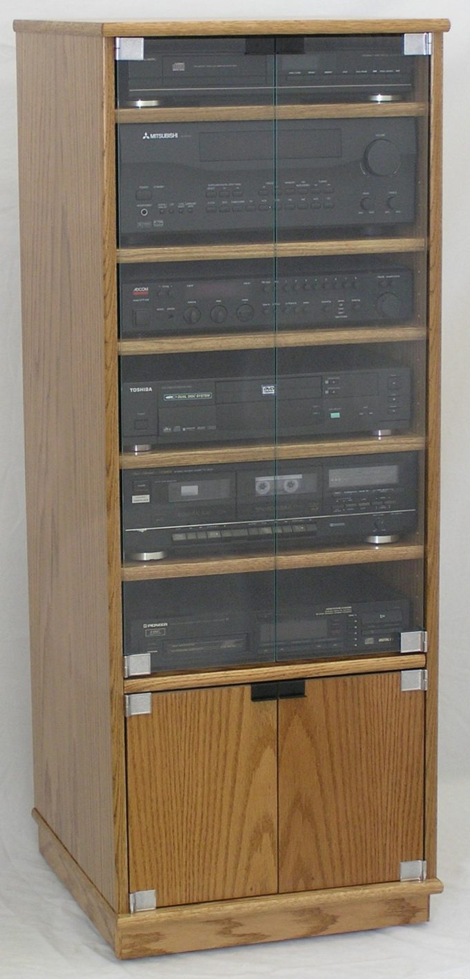 Stereo Cabinet with Glass Doors Beautiful New Stereo Cabinet with Glass Door Rack Ponent Oak Audio