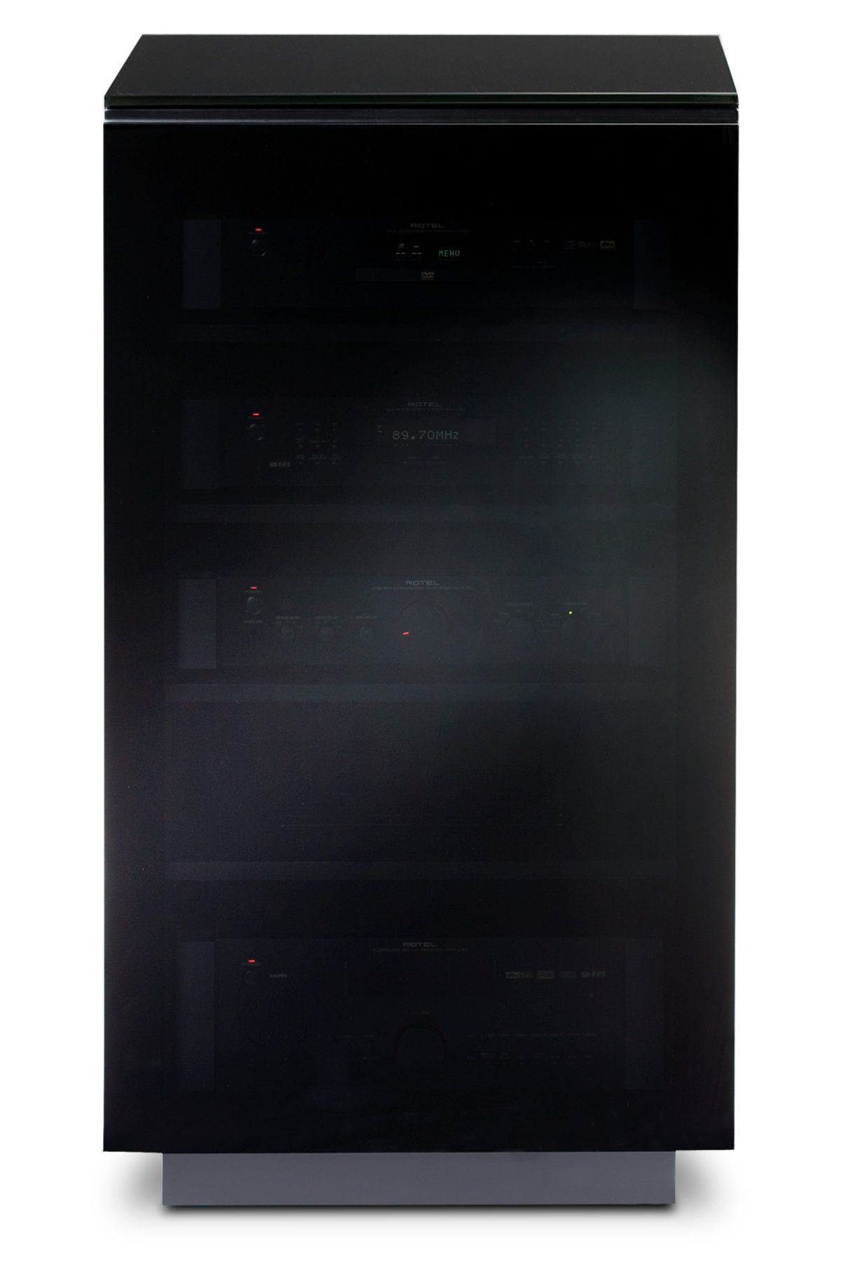 Stereo Cabinet with Glass Doors Elegant the Mirage Home theater Cabinet In Black Tinted Glass Doors