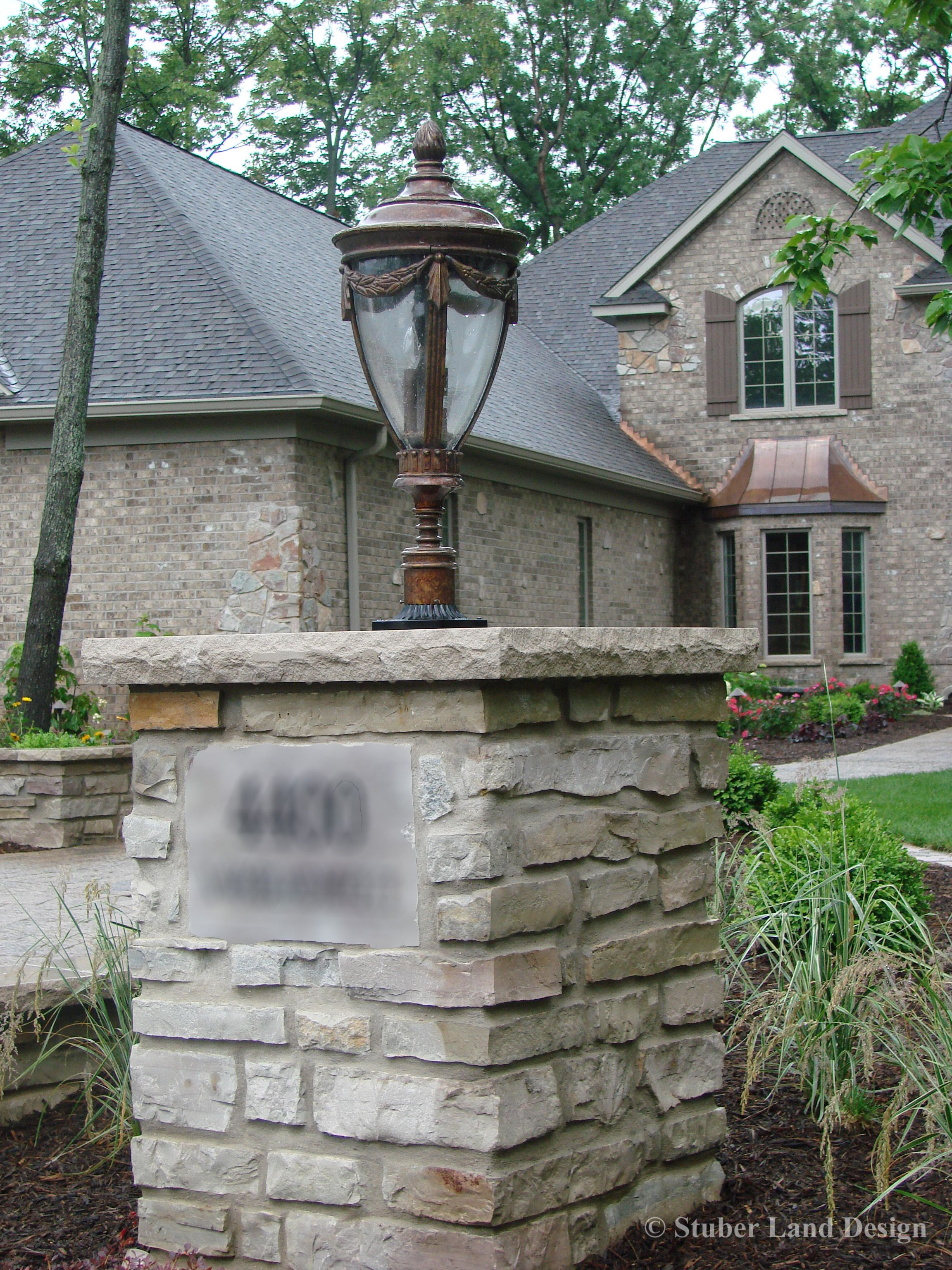 Stone Entrances and Gates New Natural Mortared Stone Pillar with Landscape Lighting and