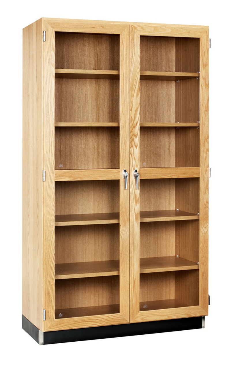 diversified 358 4822k qs tall wall storage cabinet double glass doors 48 x 84