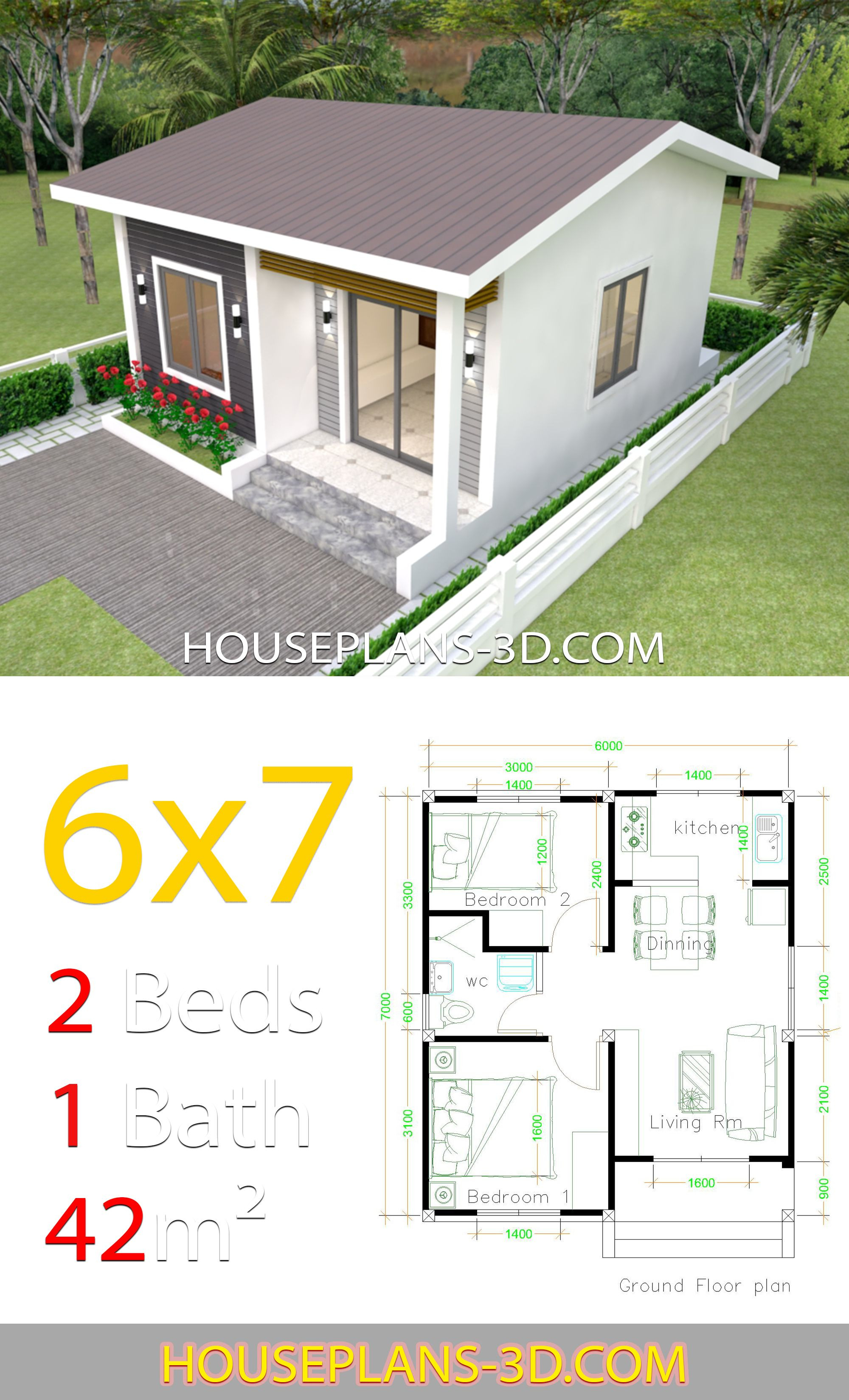 Two Bedroom House Plan Designs Awesome House Design 6x7 with 2 Bedrooms