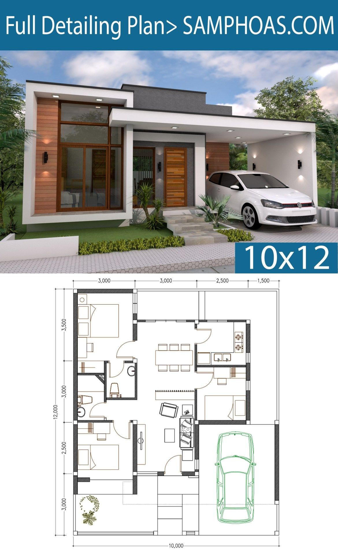 Two Bedroom House Plan Designs Inspirational 3 Bedrooms Home Design Plan 10x12m