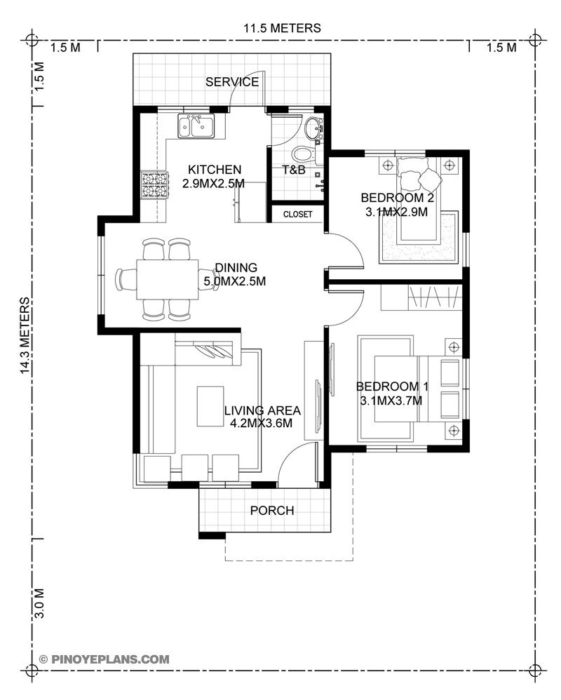 Two Bedroom House Plan Designs Lovely Katrina Stylish Two Bedroom House Plan
