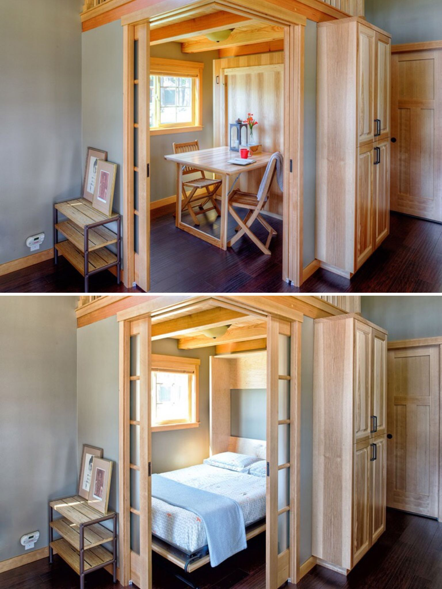 Up and Down Small House Design Unique Fold Down Table and Murphy Bed Bo