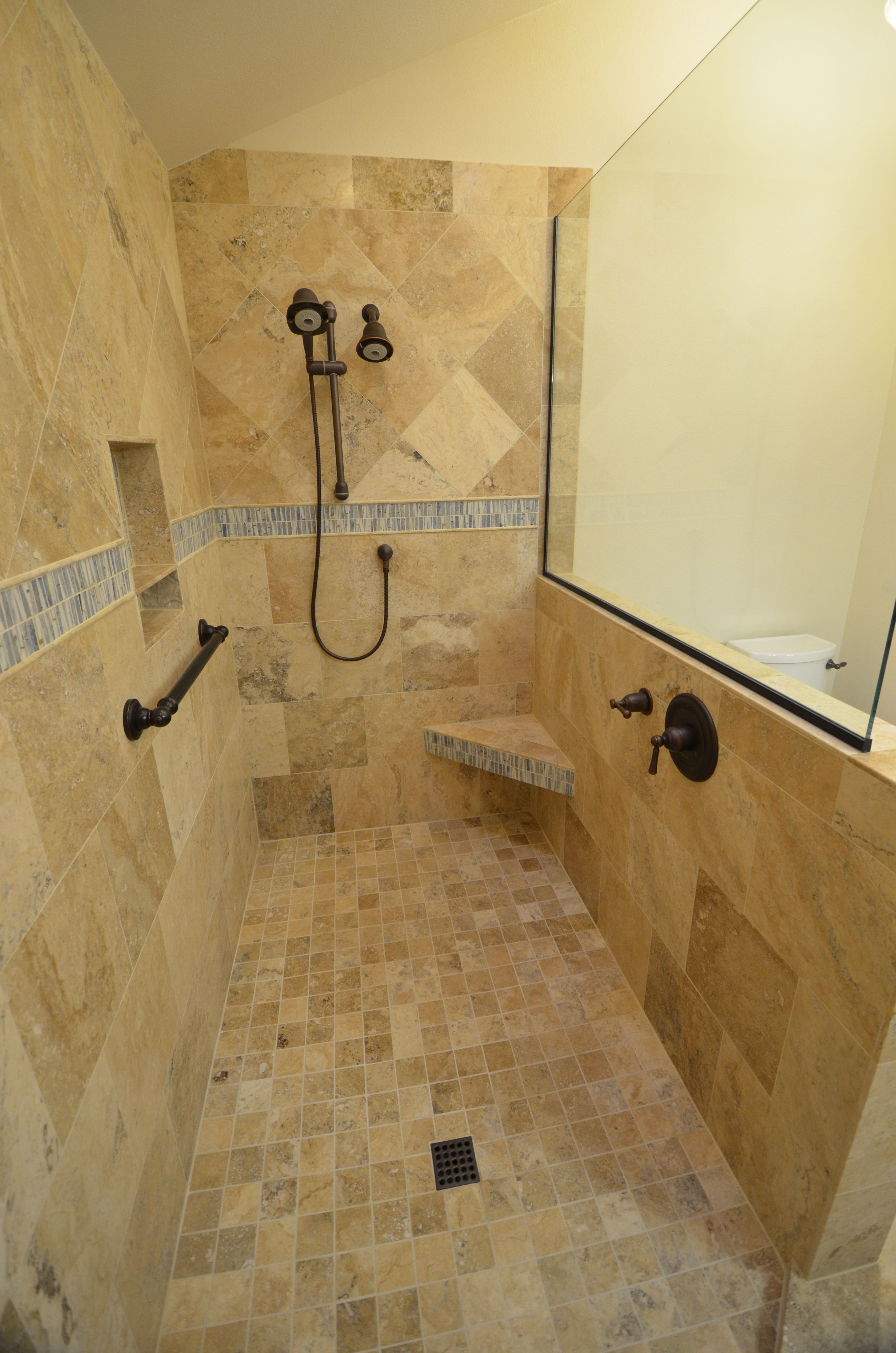 cozy travertine tile floor with merola tile wall and frosted doorless shower for small bathroom design plus doorless walk in shower dimensions also doorless walk in shower ideas