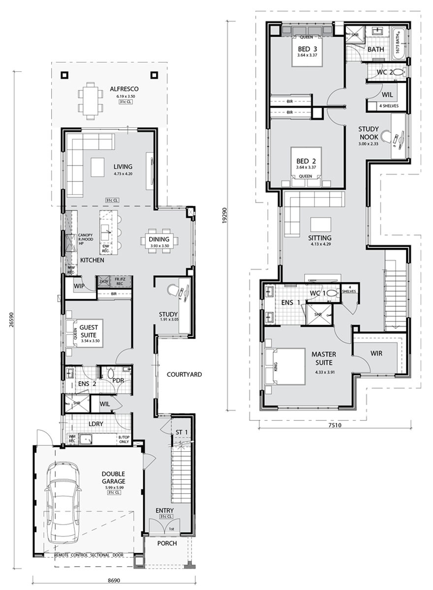 PindanHomes narrowlothomes cambridge HomeDesign Floorplan2017