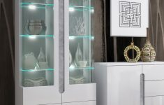 White Cabinet With Glass Doors New Lorenz High Gloss White With Grey Display Cabinet 2 Glass Doors T02 3014