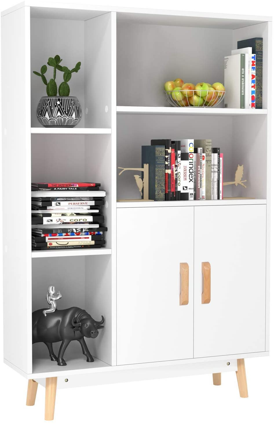 Wood Storage Cabinets with Doors and Shelves Awesome Homfa Floor Storage Cabinet Free Standing Wooden Display Bookcase with Double Doors 2 Shelves 3 Cubes and 4 Legs Side Cabinet Decor Furniture for