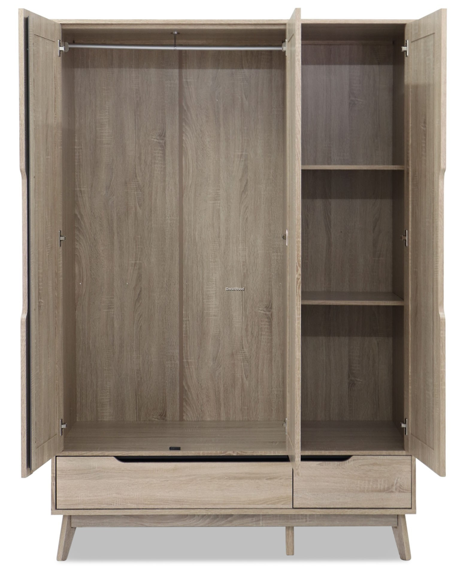 fella 3 door wardrobe cloth storage cabinet swing door cabinet almari kayu almari baju l1330mm x w600mm x h2000mm
