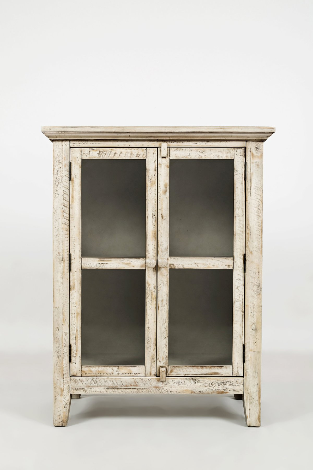 distressed wooden accent cabinet with 2 glass doors off white
