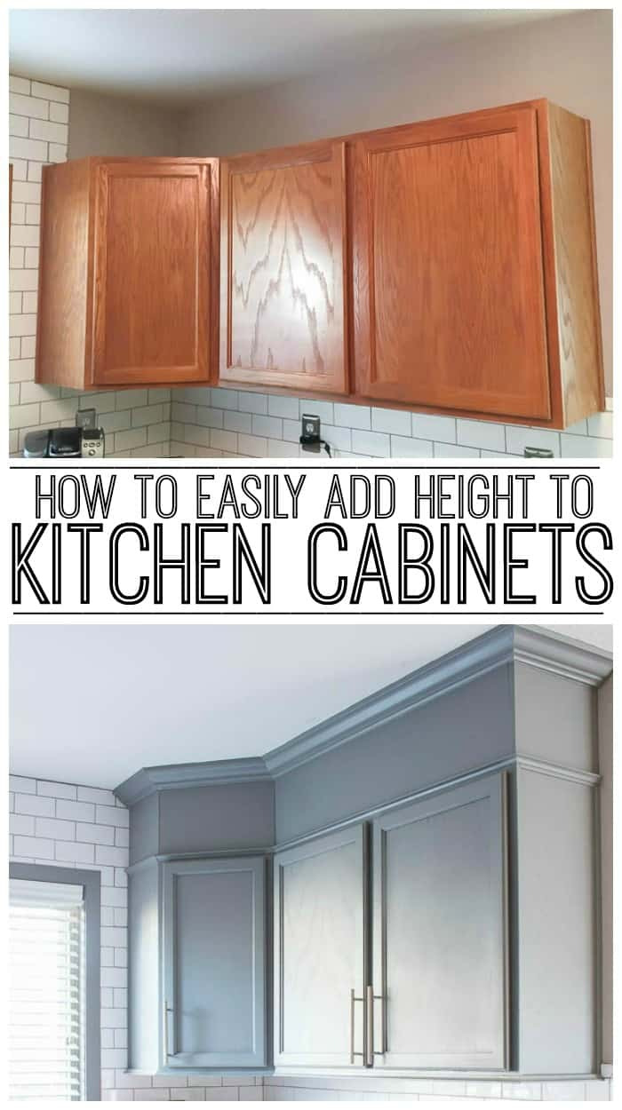 learn how to easily add height to kitchen cabinets