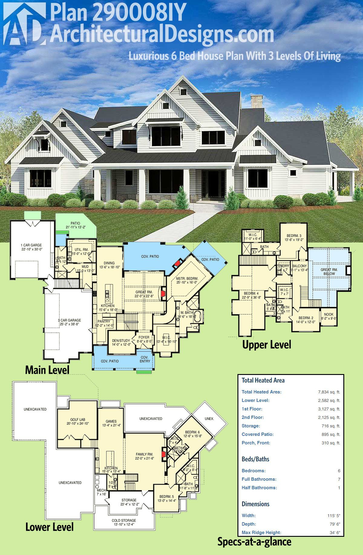 Architectural Designs Luxury House Plans Inspirational Plan Iy Luxurious 6 Bed House Plan with 3 Levels