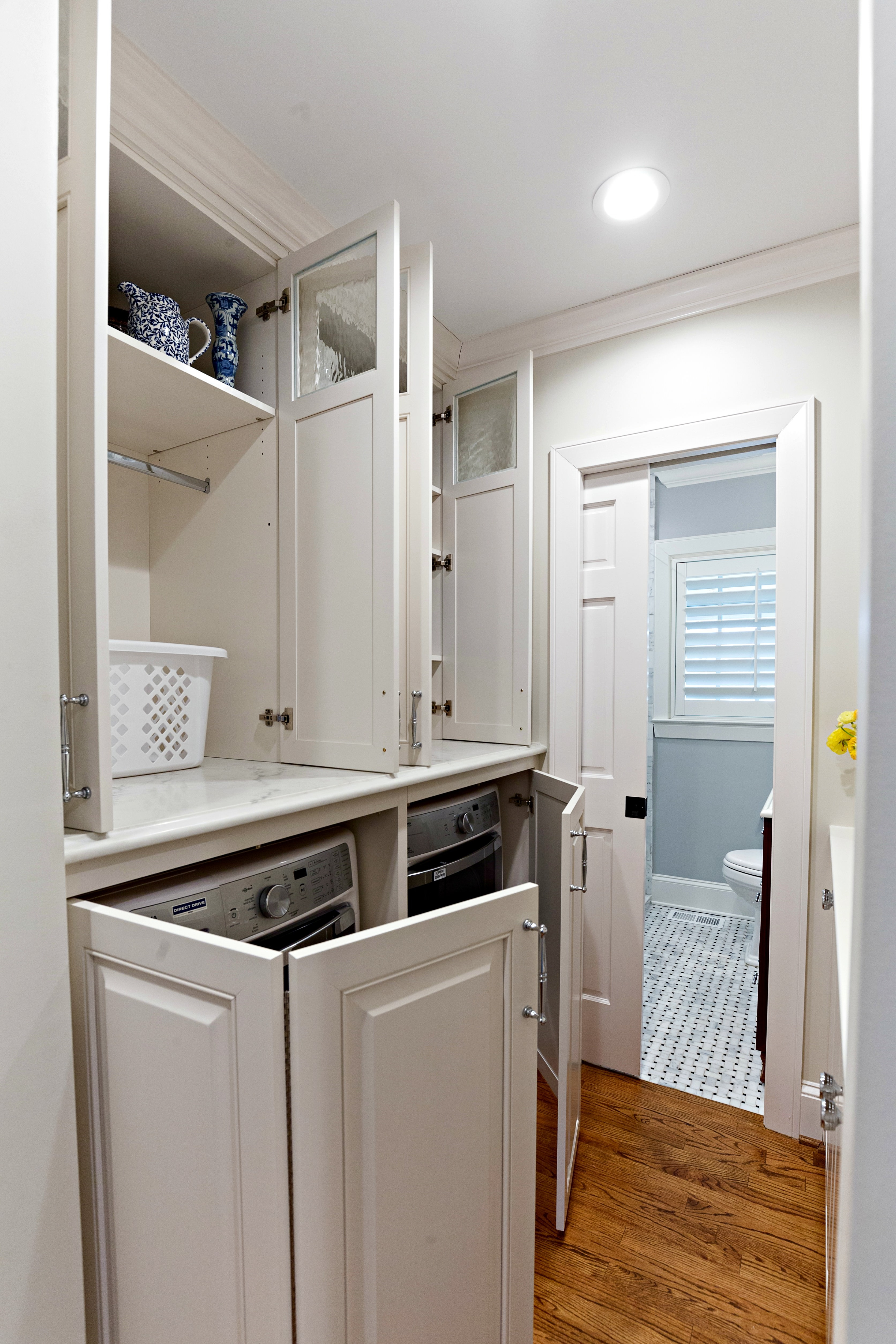 Bifold Cabinet Doors Awesome Walker Woodworking Custom Cabinets White Laundry Room