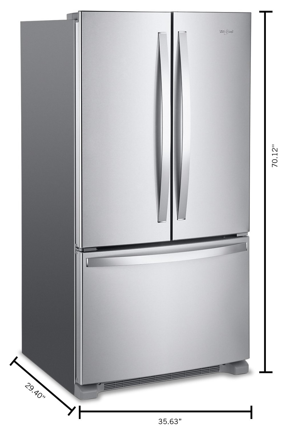 whirlpool 20 cu ft counter depth french door refrigerator wrf540cwhz