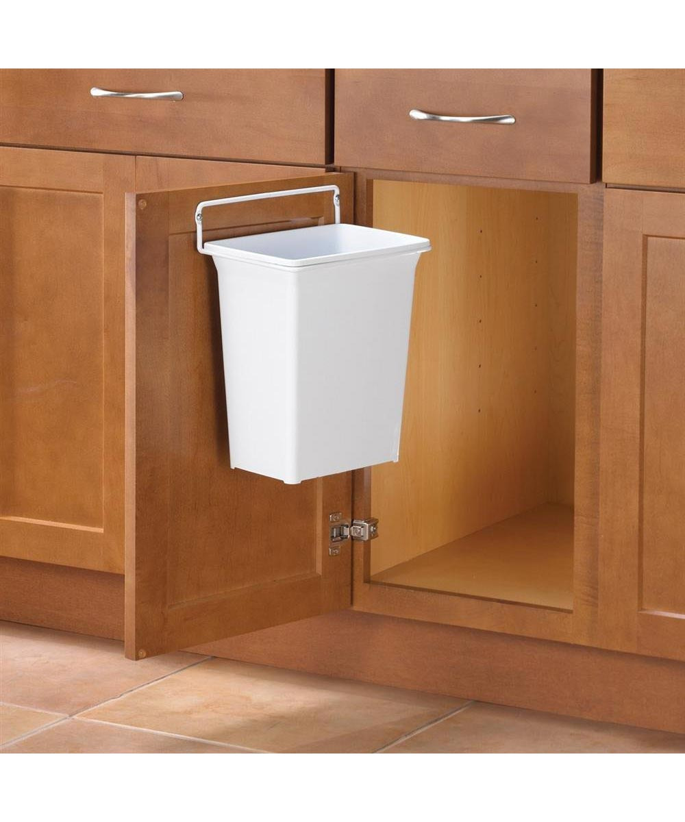 knape vogt 9 quart in cabinet door mounted trash can white
