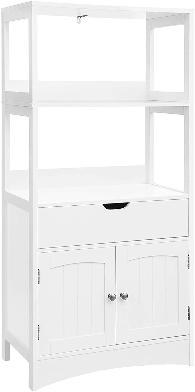 Cabinet with Drawers and Doors Inspirational Vasagle Bathroom Storage Cabinet with Drawer 2 Open Shelves and Door Cupboard Floor Cabinet In the Entryway Kitchen White Ubbc64wt