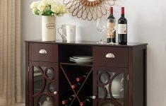 Console Cabinet With Doors Best Of Amazon Dark Cherry Wood Wine Rack Sideboard Buffet