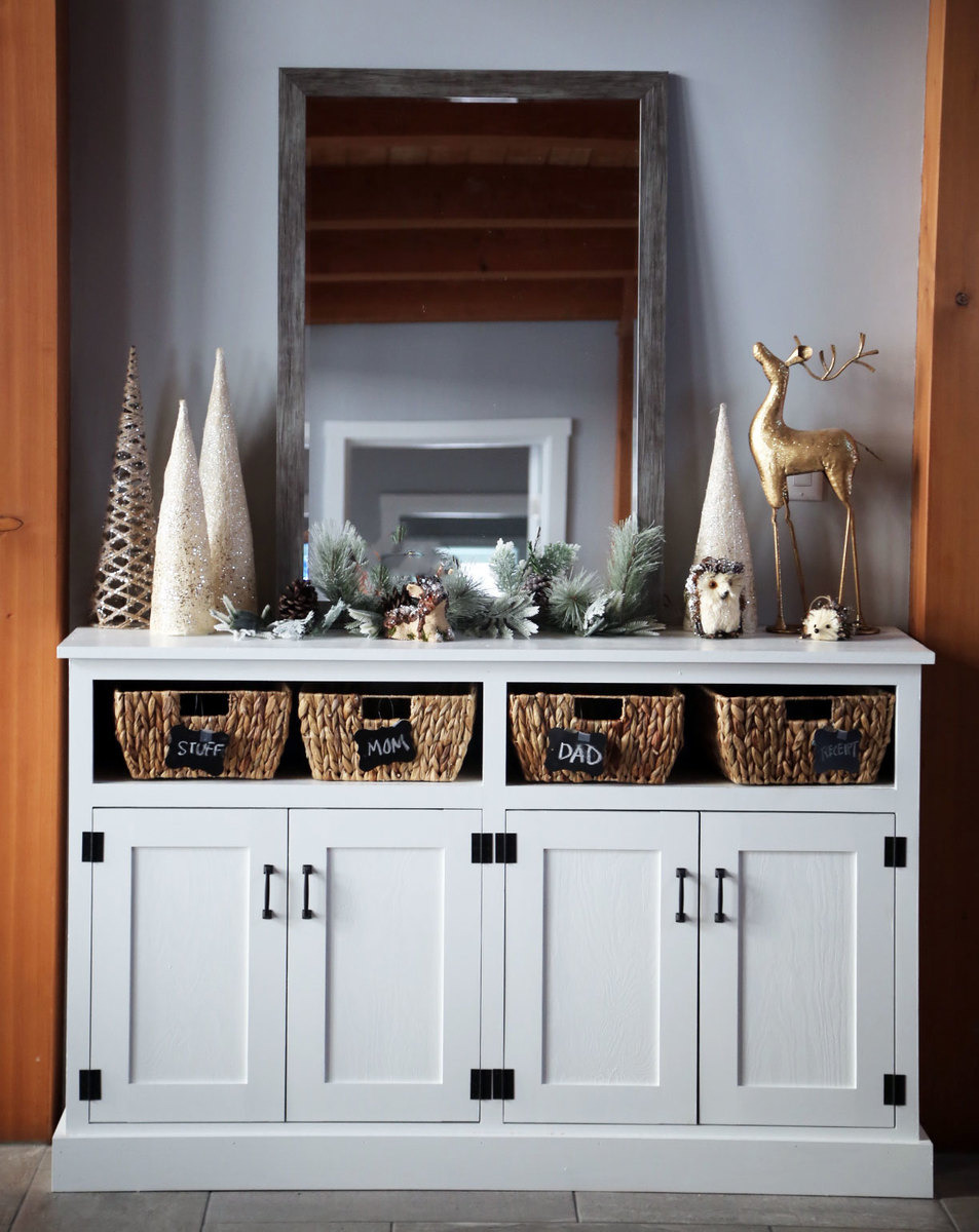 Console Cabinet with Doors Lovely Entryway Console with Open Shelves Double Width