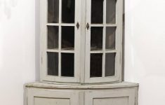 Corner Cabinet With Glass Doors New Swedish 1850s Gustavian Style Corner Cabinet With Glass