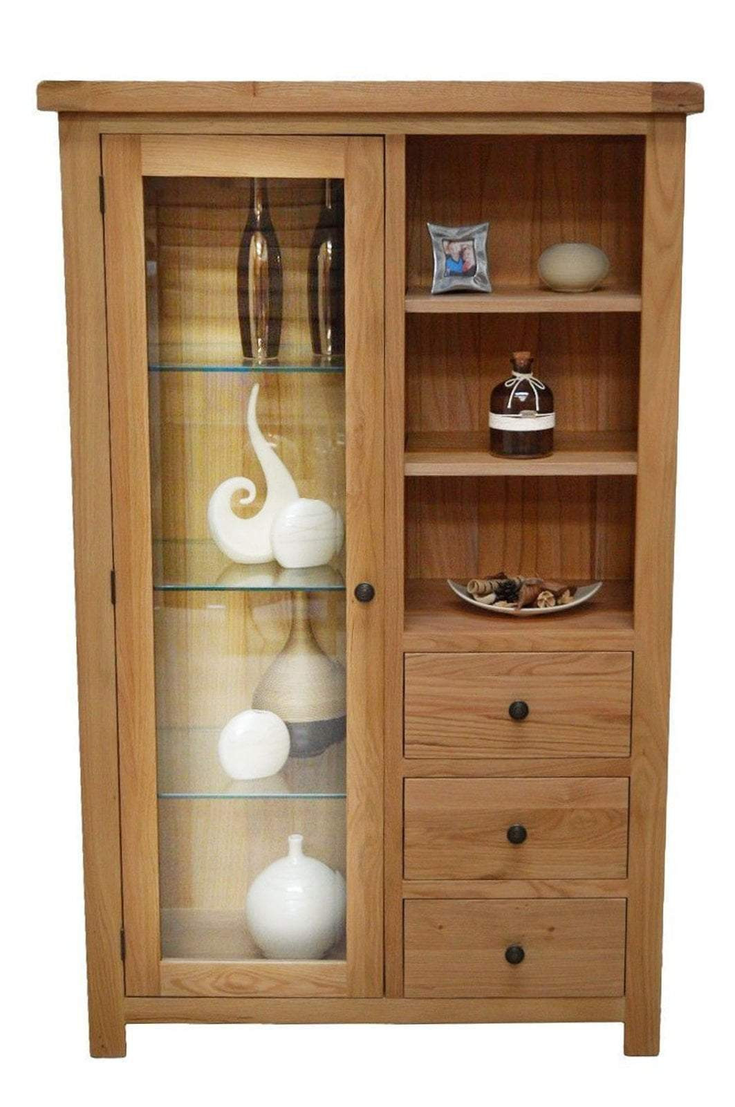 canton oak bination display cabinet with storage and glass door oak direct