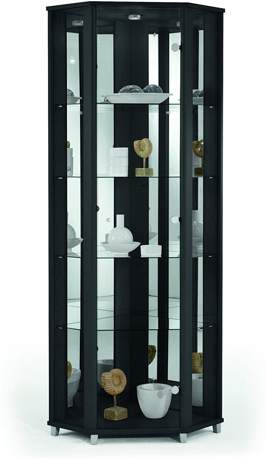 Display Cabinets with Glass Doors New Home Corner Glass Door Display Cabinet Black with Mirror Back 4 Moveable Glass Shelves & Spotlight