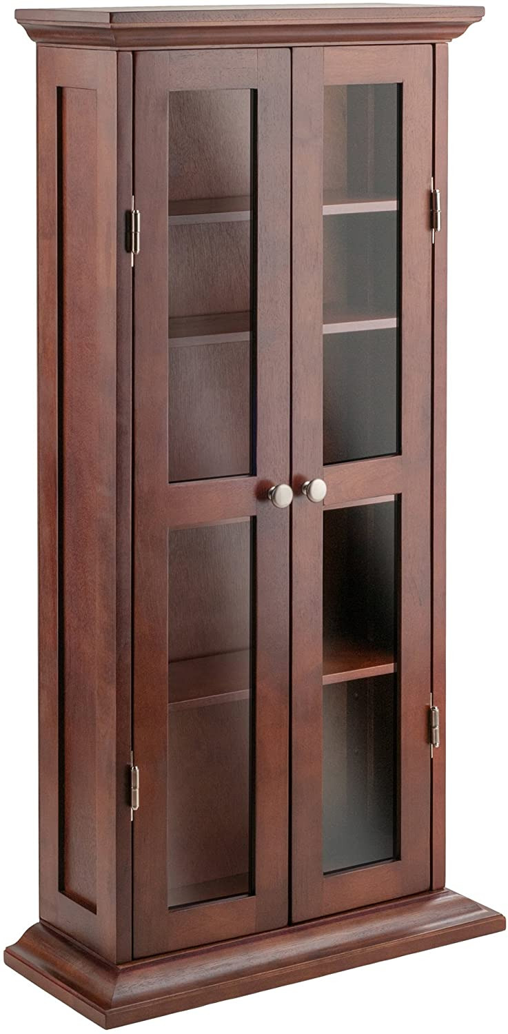 Entertainment Cabinet with Doors Elegant Winsome Wood Holden Media Entertainment Antique Walnut