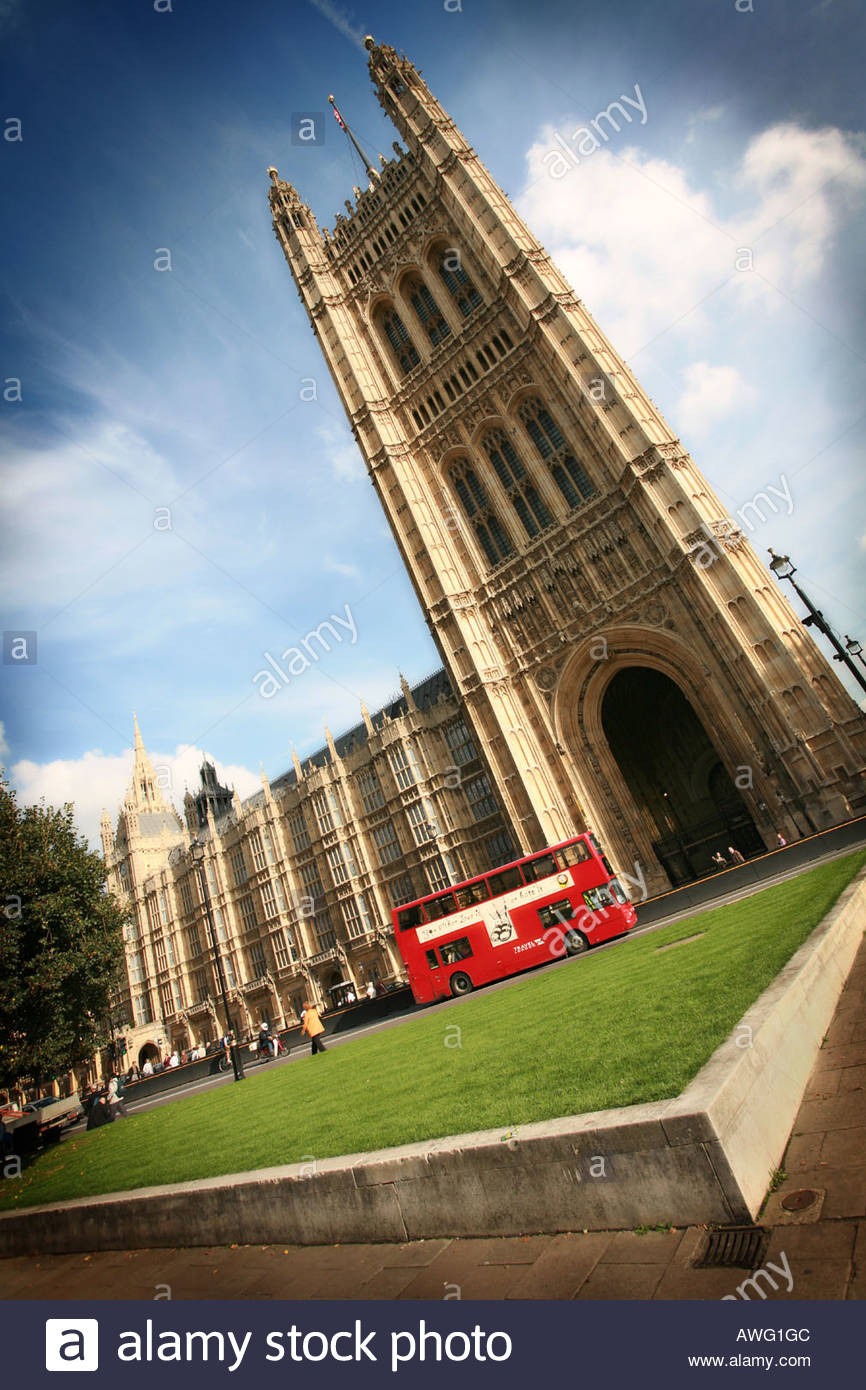 typical iconic red london double decker bus passes the world famous AWG1GC