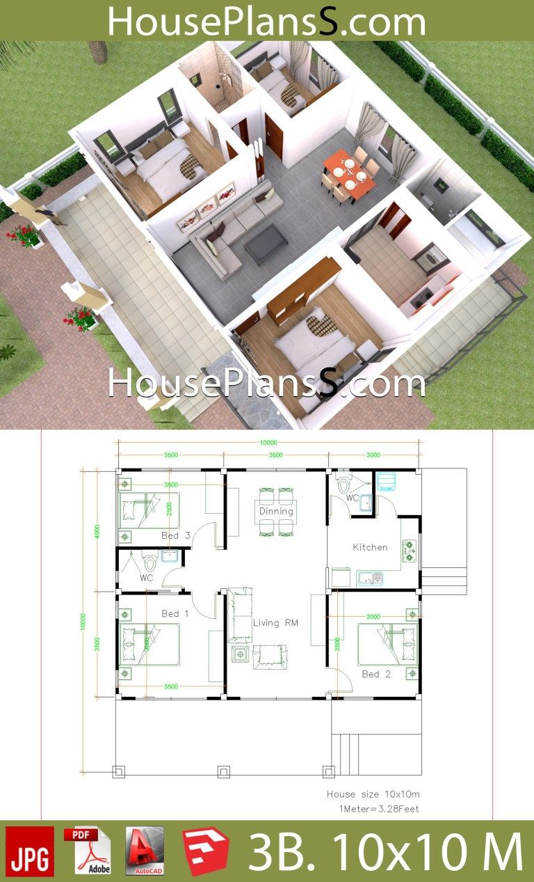 Floor Plans to Build A House Awesome House Design Plans 10x10 with 3 Bedrooms Full Interior In
