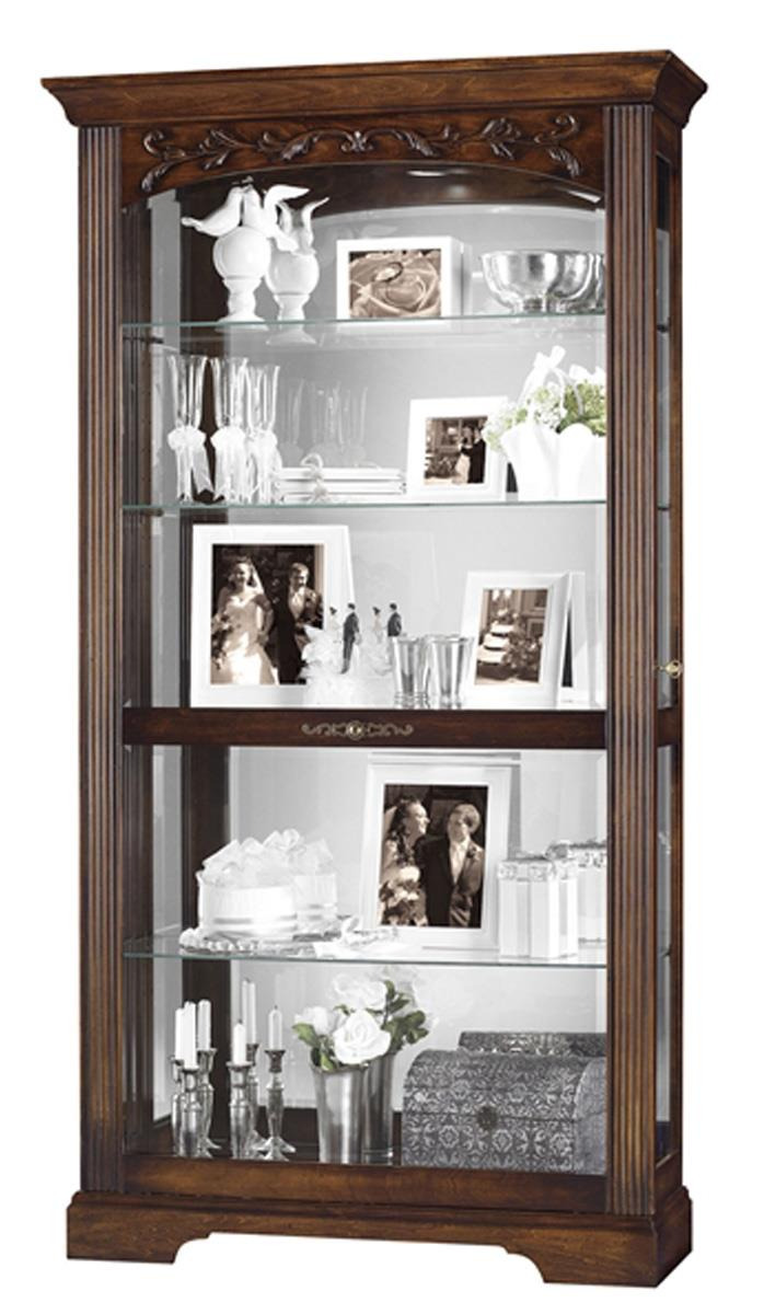 Display Cabinet 42 x78 x14 25 with Sliding Glass Door and Cherry Finish