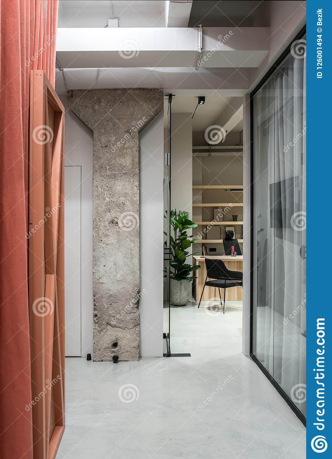 Glass Partition Wall Home Design Awesome Stylish Interior In Loft Style with Gray Walls Stock