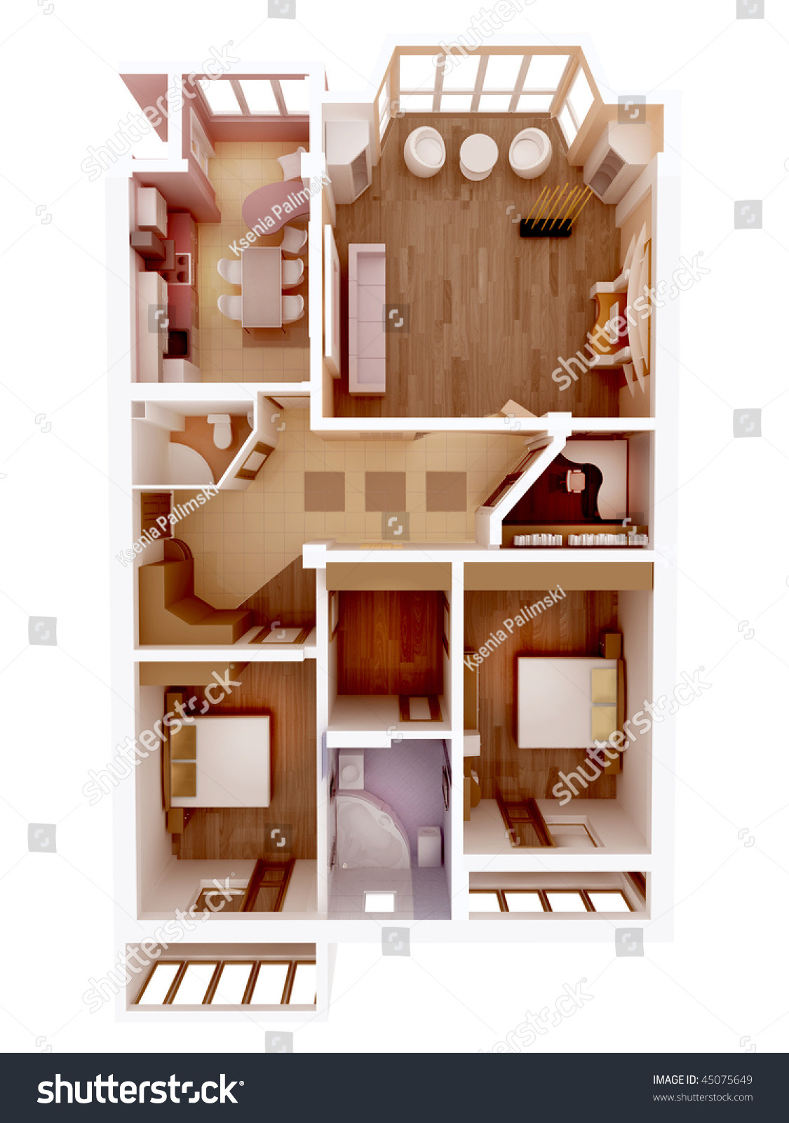 plan view apartment clear 3d interior