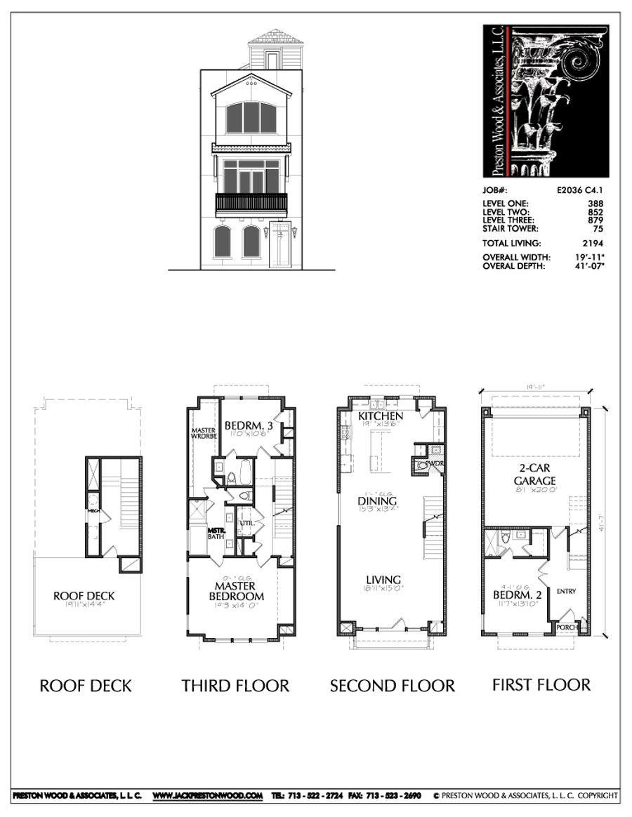 House Plans for Building New 3 1 2 Story townhouse Plan E2036 C4 1