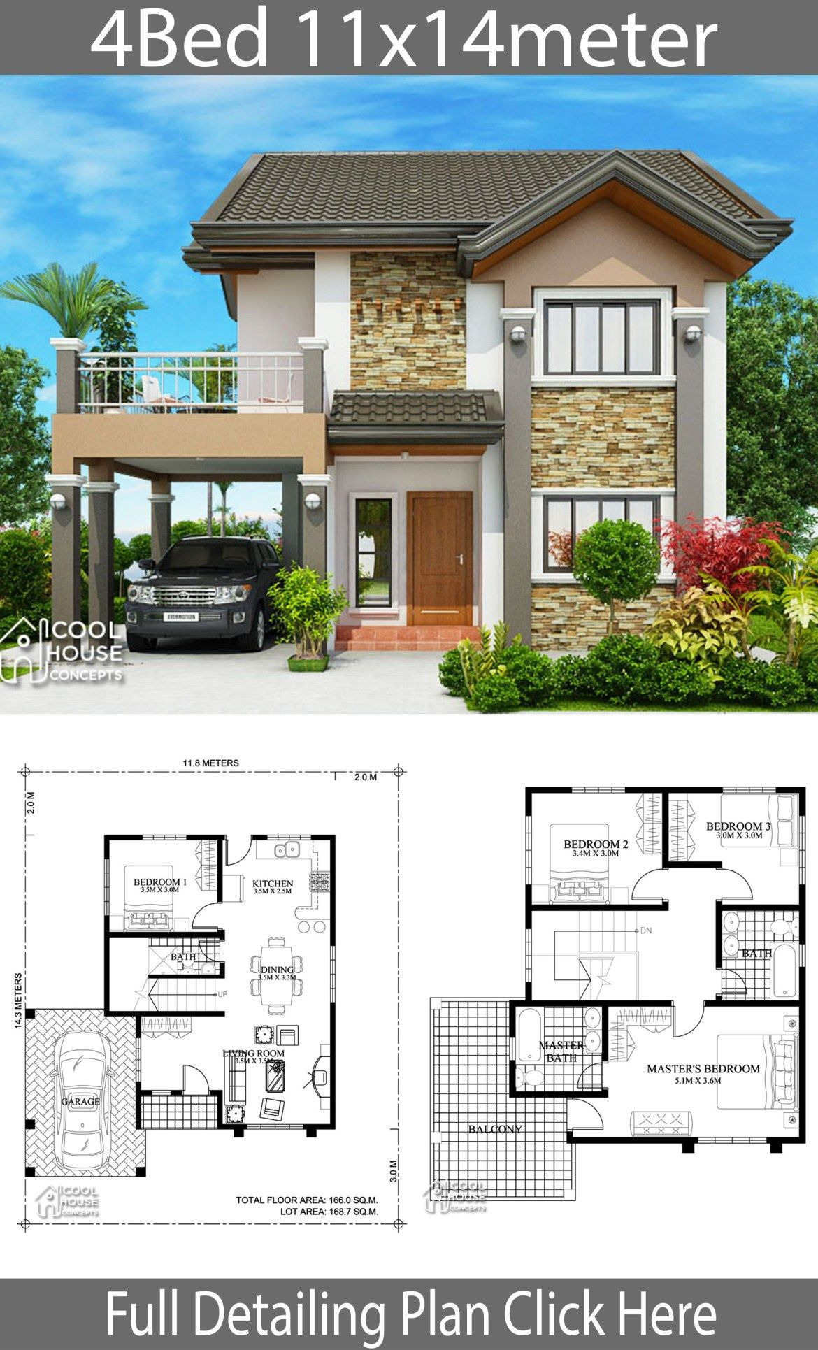 House Plans for Duplexes Three Bedroom Fresh Home Design Plan 11x14m with 4 Bedrooms